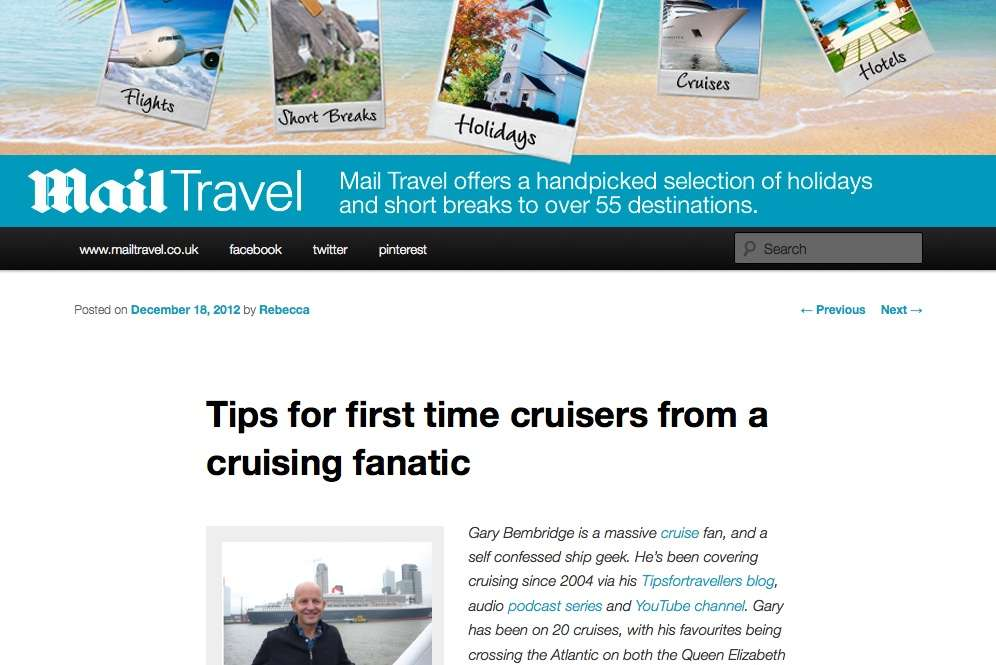 Dail Mail Travel Gary Bembridge: Tips for first time cruisers