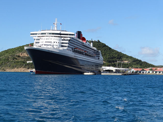 Queen Mary 2 docked in St. Thomas Caribbean