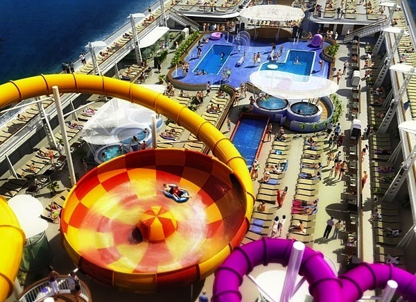Norwegian epic water slides my idea of heaven at sea for Piscine aquajade